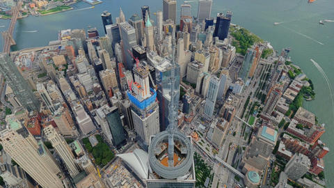 Freedom tower spire nyc aerial Manhattan financial district Live Action