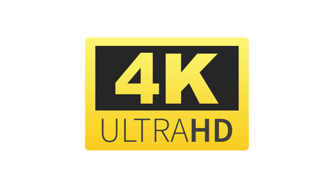 4K Ultra HD label. High technology. LED television display. Motion graphics Animation