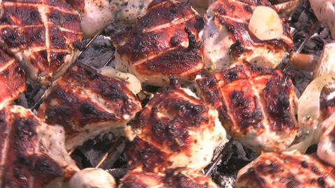 Chicken on a grill Stock Video Footage