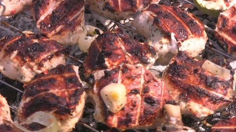 Chicken On A Grill stock footage