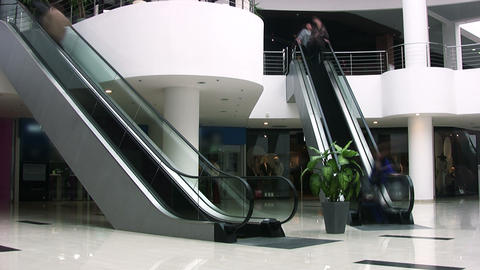 Escalators in shopping center. Timelapse Stock Video Footage