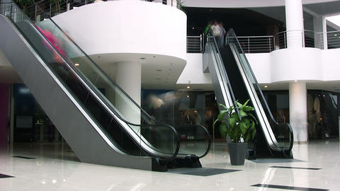 Escalators In Shopping Center. Timelapse stock footage