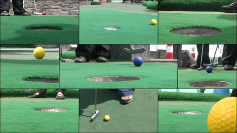 HD MONTAGE: Newcomers are playing golf Stock Video Footage