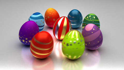 Easter Eggs Turning Around Stock Video Footage