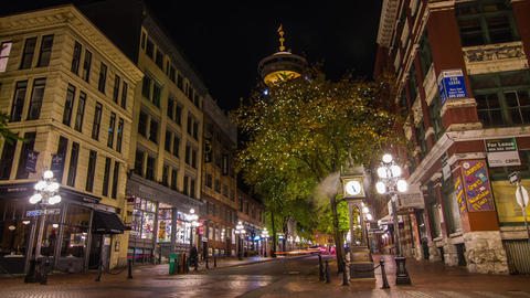 Night Travel in Water Street, Gastown in Downtown Stock Video Footage