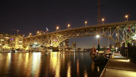 Time Lapse of Boat moving by Granville Bridge. Vie Footage