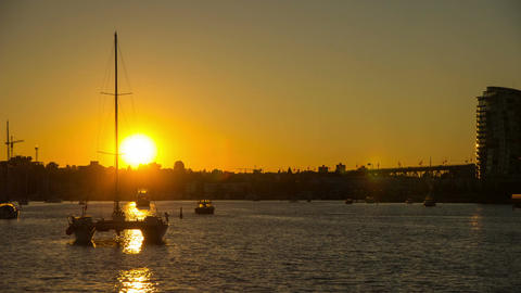 Sunset time Boating by the False Creek in Downtown Stock Video Footage
