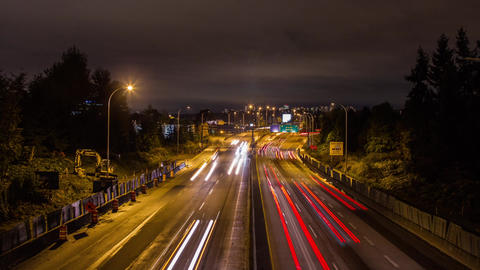 High Impact Busy Traffic Of Highway #1 Vancouver stock footage