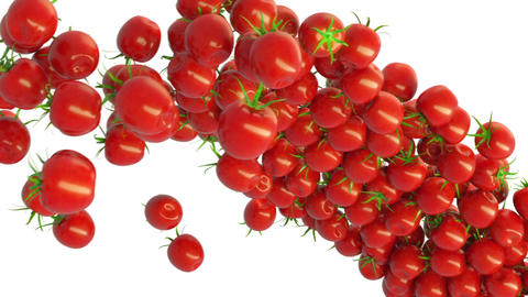 Tomato Cherry Flow With Slow Motion. Alpha Matte stock footage