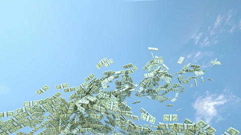 US dollar cash slow motion flow and blue sky. Alpha matte Animation