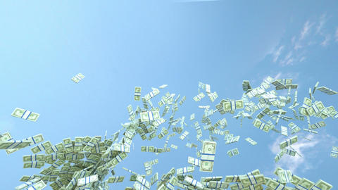 US dollar cash slow motion flow and blue sky. Alpha matte Stock Video Footage