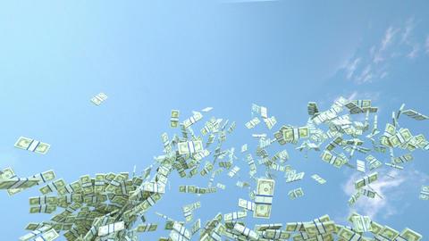 US dollar cash slow motion flow and blue sky. Alpha matte Stock Video Footage