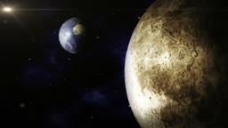 Planet Earth And Moon Space Scene stock footage