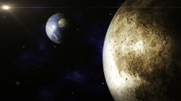 Planet Earth and Moon Space scene Stock Video Footage