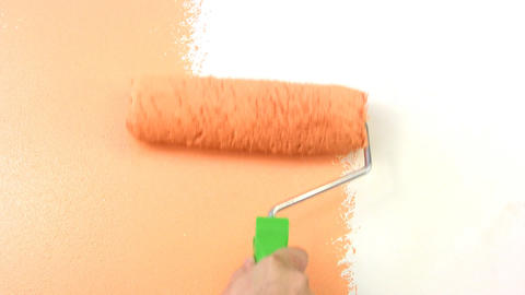 Paint Rollers In Hand stock footage