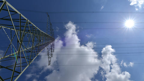 10881 4k UHD electricity pylon wide time lapse Footage