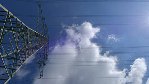 4k UHD electricity pylon time lapse zoom 10883 Stock Video Footage