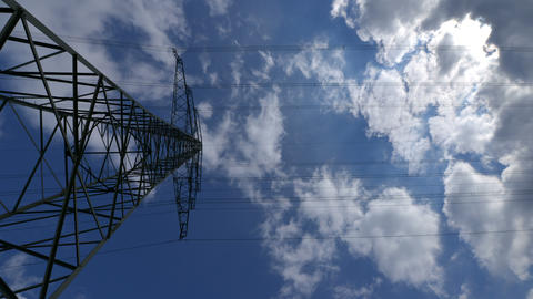 4k UHD electricity pylon time lapse zoom 10883 Footage