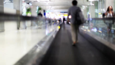 Moving sidewalk in airport Stock Video Footage