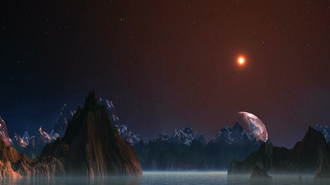 Planet Floating Because Of Mountains stock footage