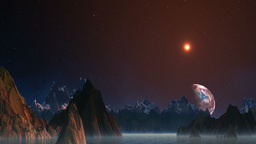 Planet floating because of mountains Stock Video Footage