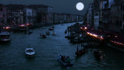 Full moon on the Grand Canal Footage