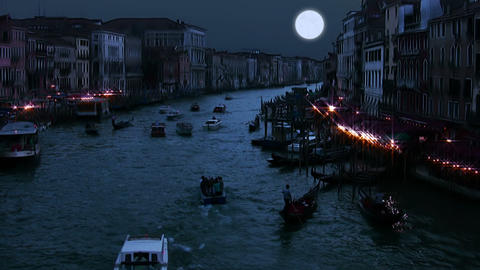Full moon on the Grand Canal Stock Video Footage