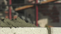Bricklayer  Putting  Cement stock footage