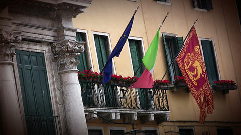 Flags in Venice Stock Video Footage
