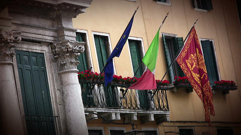 Flags In Venice stock footage