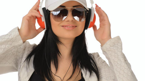 Beautiful Girl Listening To Music And Laughs stock footage