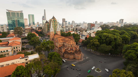 1080 - AERIAL TIMELAPSE OF SAIGON CATHEDRAL Stock Video Footage