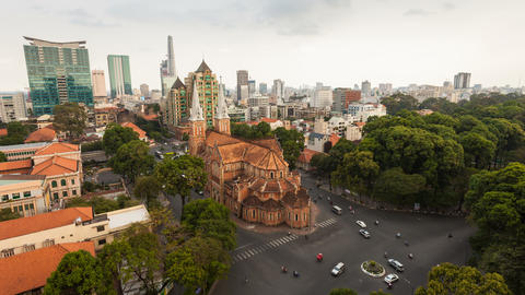 1080 - AERIAL TIMELAPSE OF SAIGON CATHEDRAL Live Action
