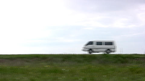 Van leaves on the road Footage