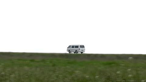 Van leaves on the road Stock Video Footage