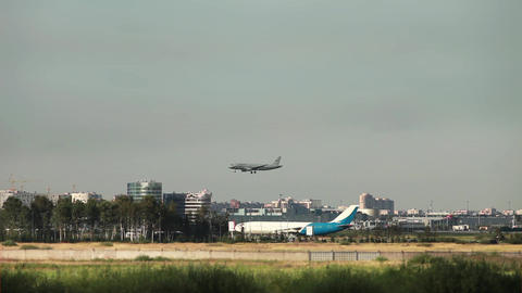 plane lands at the airport Stock Video Footage