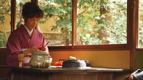 Tea ceremony in Japan Stock Video Footage