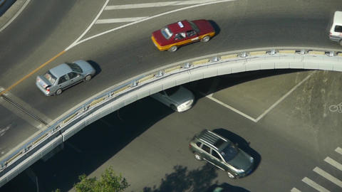Aerial view of overpass traffic in city Stock Video Footage