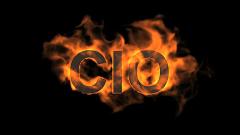 flame CIO word,fire text Animation