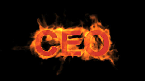flame CEO word,fire text Stock Video Footage