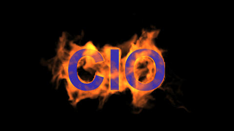 flame blue CIO word,fire text Stock Video Footage