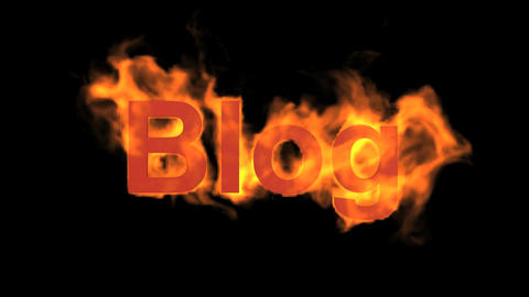 flame blog word,fire text Animation
