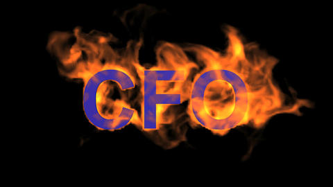 flame blue CFO word,fire text Animation