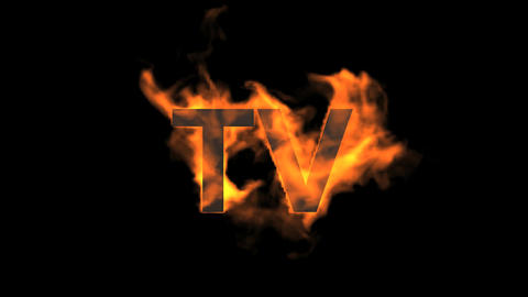 flame TV word,fire text Animation