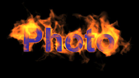 flame blue photo word,fire text Animation