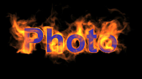 flame blue photo word,fire text Stock Video Footage