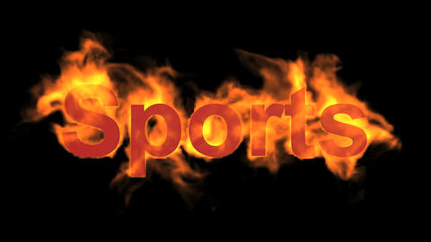 flame sports word,fire text Animation