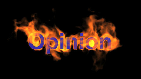 flame blue opinion word,fire text Animation