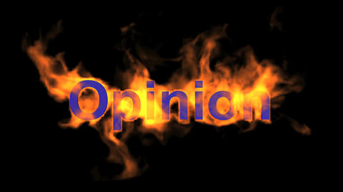 flame blue opinion word,fire text Stock Video Footage