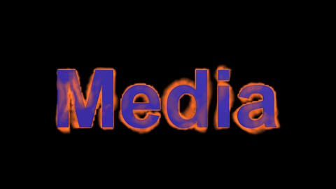 flame blue media word,fire text Stock Video Footage